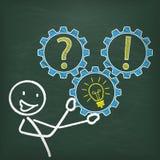 Blackboard Stickman Gear Question Idea Answer Stock Photo
