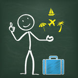 Blackboard Stickman Holidays. Blackboard with stickman and blue suitcase Stock Photography