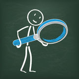 Blackboard Stickman Loupe Stock Photos