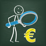 Blackboard Stickman Loupe Euro Royalty Free Stock Image