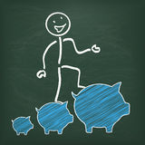 Blackboard Stickman Piggy Banks Chart Stock Images