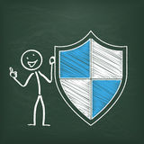 Blackboard Stickman Protection Shield Royalty Free Stock Photos