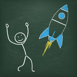 Blackboard Stickman Rocket. Blackboard with stickman and a rocket Stock Images