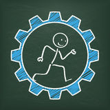 Blackboard Stickman Runs Gear Royalty Free Stock Image