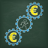 Blackboard Stickman Runs Gears Euro Stock Photo