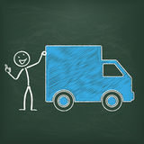 Blackboard Stickman Shipment Car Ok Stock Image