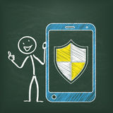Blackboard Stickman Smartphone Protection Shield. Blackboard with stickman, smartphone and  protection shield Royalty Free Stock Photo
