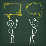 Blackboard Stickman 2 Speech Bubbles Royalty Free Stock Photography