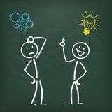 Blackboard Stickman 2 Thinking Idea Stock Image