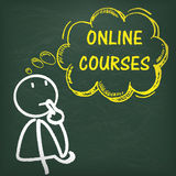 Blackboard Stickman Thinking Online Courses Stock Photo