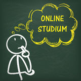 Blackboard Stickman Thinking Online Studium Stock Photos