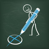 Blackboard Stickman Vote Pen Royalty Free Stock Photo