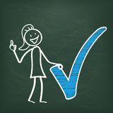 Blackboard Stickwoman Blue Tick Ok Stock Photos