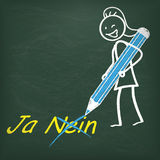 Blackboard Stickwoman Pen Ja Nein Royalty Free Stock Photography