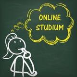 Blackboard Stickwoman Thinking Online Studium Royalty Free Stock Photography