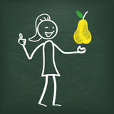 Blackboard Stickwoman Yellow Pear Royalty Free Stock Photography