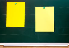 Blackboard with sticky notes Royalty Free Stock Photo