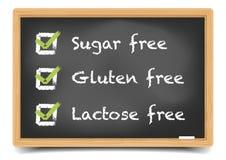 Blackboard Sugar Gluten Lactose Stock Image