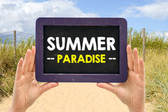 Blackboard with summer paradise Stock Image