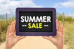 Blackboard with summer sale Royalty Free Stock Images