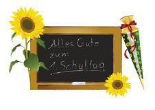 Blackboard and sunflowers Royalty Free Stock Images