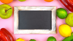 Blackboard surrounded by healthy food, stock photos
