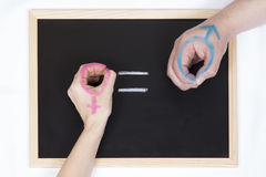 Blackboard with the symbol of equality Royalty Free Stock Image