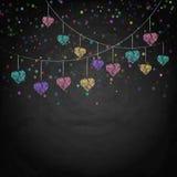Blackboard tło z rysunkowymi chorągiewek sercami Zdjęcie Stock