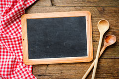 Blackboard with tablecloth Royalty Free Stock Photo