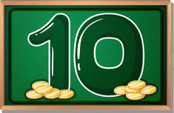 A blackboard with ten coins Stock Images