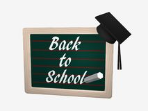 Blackboard with the text Back to School. Where a high school hat hangs. 3d rendering isolated on white Royalty Free Stock Images