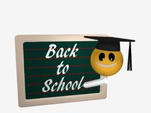 Blackboard with the text Back to School. Next to it is an emotic. On with a high school hat. 3d rendering isolated on white Royalty Free Stock Photos