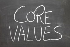 Blackboard with the text Core Values Stock Images