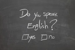 Blackboard with the text - Do You Speak English? Stock Photography