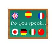 Blackboard with text Do you Speak. Language learning Stock Image