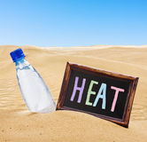 Blackboard with the text of the heat and water bottle Stock Images