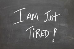 Blackboard with the text - I am Tired Royalty Free Stock Images