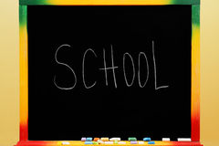 Blackboard with text school Stock Photos