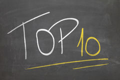 Blackboard with the text TOP 10.  Stock Images