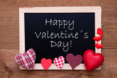 Blackboard With Textile Hearts, Text Happy Valentines Day Royalty Free Stock Photos