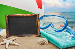 Blackboard and things for the beach Stock Photo
