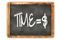 Blackboard Time=Money. A Colourful 3d Rendered Blackboard Concept of Time = Money Dollar Royalty Free Stock Images