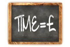 Blackboard Time=Money. A Colourful 3d Rendered Blackboard Concept of Time = Money Pound Stock Photography