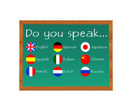 Blackboard to learn some languages Stock Images