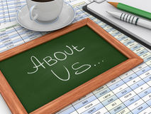 Blackboard with About Us Stock Photos