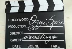 The sign used for the clapperboard royalty free stock photo