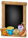 Blackboard with various cartoon meals Stock Images