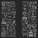 Blackboard Vector doodle set Children language school Kindergarten kids Pattern with doodle kids drawing style icons Stock Image