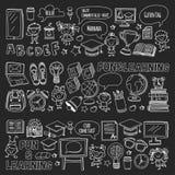 Blackboard Vector doodle set Children language school Kindergarten kids Pattern with doodle kids drawing style icons Royalty Free Stock Photo