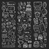 Blackboard Vector doodle set Children language school Kindergarten kids Pattern with doodle kids drawing style icons Royalty Free Stock Photography